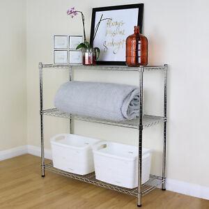 3 Tier Chrome Metal Storage Rack/Shelving Wire Shelf Kitchen/Office Unit 90cm