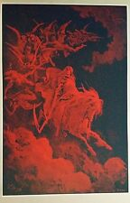 "Gustave Dore Poster Print 24"" x 36"" Death on a Pale Horse Dante's Inferno Red"