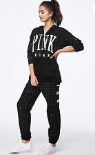 Victoria Secret Pink Black Sliver Rhinestone Bling Hoodie Joggers Set Medium