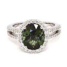 18k WG Halo Ring 2.81cts Green Tourmaline & .49cts Round Diamonds