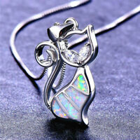 Fashion 925 Silver Cute Cat White Fire Opal Charm Pendant Necklace Chain Jewelry