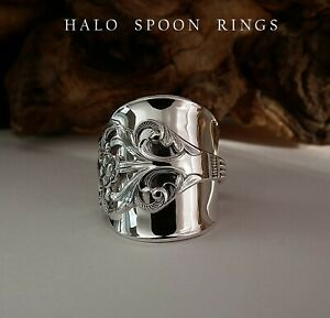 NORWEGIAN SOLID SILVER SPOON RING VIKING ROSE 1960 PERFECT CHRISTMAS GIFT IDEA
