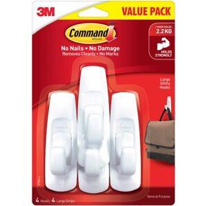 Command 2.2kg Large White Value Pack Hooks - 4 Per Pack