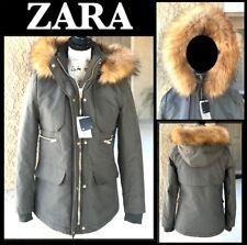 ZARA WOMAN (XS) KHAKI PARKA BLACK LINED with DETACHABLE FUR TRIM Sz XSMALL BNWT
