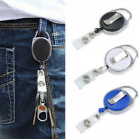 FJ- Retractable Office Carabiner Clip-On ID Card Holder Badge Reel Keychain Sanw