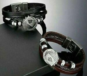 LEMMY MOTORHEAD Mens ACE OF SPADES WRISTBAND Bracelet BROWN BLACK LEATHER CUFF
