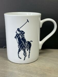 Polo Ralph Lauren Coffee Mug White With Blue Player Horse Pony
