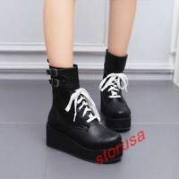 Womens Gothic Platform Wedge Heels Casual Creeper Shoes Lace Up Punk Ankle Boots