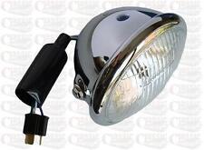 Custom Chrome Bates Style Classic Metal Headlight Headlamp Motorbike Motorcycle