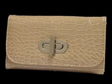 De Mujer Color Beige Patente Real De Cuero Cartera Monedero Billetera