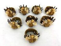 Lot of 8 Raffia Turkey Napkin Rings Holders Thanksgiving Dinner Natural Rustic