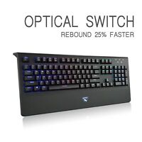 Mechanical Gaming Keyboard Optical Axis Switch Wired 104 keys RGB Backlit Linear