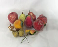 LOT OF VTG BEADED SUGAR FROSTED ARTIFICIAL FAKE FRUIT PEAR APPLES 12 PIECE