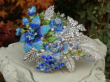 Brooch Bouquet Brides Wedding Flowers Unique Bridal Crystal Blue Custom-made