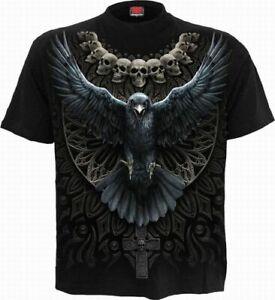 Tshirt Rabe & Schädel Spiral Raven Skull Gothic Shirt