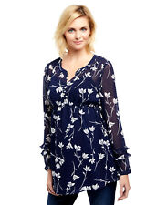 NWT Motherhood Maternity Medium Top Tunic Shirt Floral Navy Blue Career Casual
