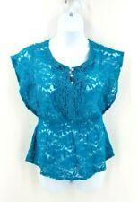HEARTSOUL Women's Blouse Turquoise Lace V Neck Dolman Top Size XL