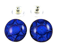"""Dichroic Glass Earrings Royal Blue Round Cobalt Bubbles Textured Post 1/2"""" 12mm"""