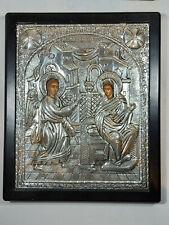 Annunciation of Virgin Mary Greek Byzantine Icon Silver 950 Big Icon!!!