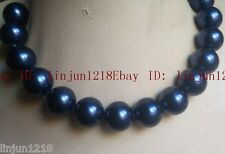 Real Huge New 20mm Dark Blue Sea Shell Pearl Necklace 18''  AAA