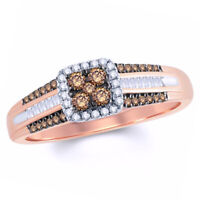 1/3 Ct Champagne and White Diamond Frame Engagement Ring in 9K Rose Gold -IGI-