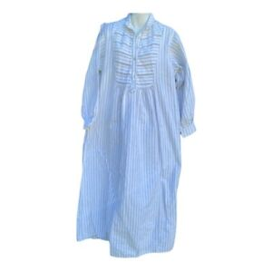 Garnet Hill Womens Nightgown cottagecore Ticking Stripe Cotton Button Large
