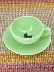 McKee Jadeite Jadite Green Scottie Dog Laurel Children's Tea Cup & Saucer Set