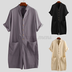 Men's One Piece Short Sleeve Casual Baggy Dungarees Shorts Jumpsuit Overalls US