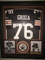 Autographed LOU GROZA HOF CLEVELAND BROWNS Jersey w/ JSA COA Framed