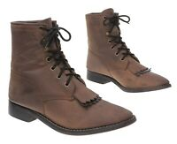 LAREDO Cowboy Boots 6 D Mens Brown Leather Packer Roper Lace Up Western Boots