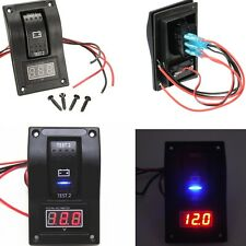 Marine Battery Rocker Switch ON-OFF-ON Car Voltmeter LED Test Panel Boat