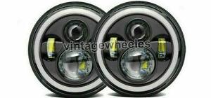 DOT 7'' Round Black LED Headlights Halo Hi/Lo Beam for Classic Mini Austin Rover