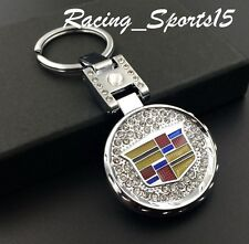 For CADILLAC Crystal keychain Double Side Metal logo Escalade CTS CT6 ATS XTS