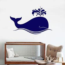 Vinyl Wall Decal Big Blue Whale Cartoons Sea Animals Stickers (1579ig)