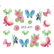Nail Art Stickers Water Decals Transfers Roses Butterflies (DS471)