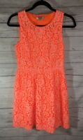 Madewell Women's Dress Neon Orange Lace Sleeveless Sundress Size 0