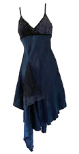 RIVER ISLAND Midnight Blue Hankerchief Satin Dress with Lace Size 8