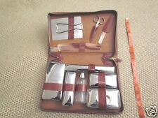 Vintage 60's LEATHER - TRAVEL / BATH GROOMING ACCESSORY CARE KIT