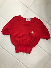 Chanel Vintage Cotton Knit Shirt Red With Large Gold CC Size Small Euro 38