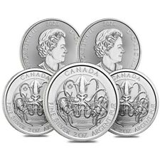 Lot of 5 - 2020 2 oz Royal Canadian Creatures of the North Series Kraken Silver