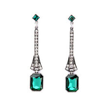 Long Silver Pave Bar Hanging Emerald Green Crystal Drop Earrings For Women 2016