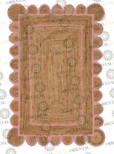 Scallop Jute Light Pink Hand Made Rug, Bohemian Decor, Customize in Any Size....