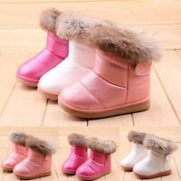 Baby Kid Girl Snow Boots Toddler Warm Fur Winter Leather Shoes 3 Colors 10