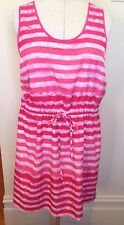 GAP Marbled Hot Pink Striped Colleen Sleeveless Drawstring Waist Sundress XL