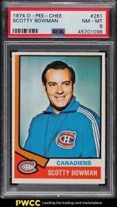1974 O-Pee-Chee Hockey Scotty Bowman ROOKIE RC #261 PSA 8 NM-MT