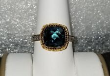 Ross Simons 18k Yellow Gold/Sterling silver London Blu checkerboard cushion Ring