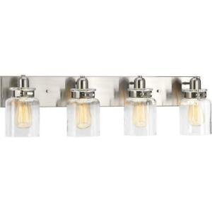 Progress Lighting Calhoun 4-Light Brushed Nickel Bathroom Vanity Light