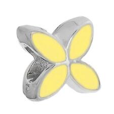 Clover Flower Yellow Enamel Star Spacer Charm for Silver European Bead Bracelets