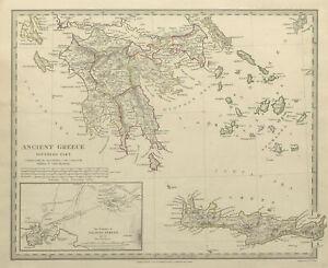 ANCIENT GREECE.Morea Creta Athens Peloponnesus Cyclades Arcadia.SDUK 1844 map