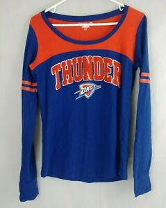 New Era 5th & Ocean Womens Blue & Orange Thunder OKC Shirt Size Small